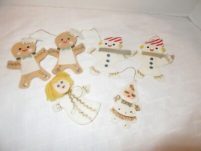 Vintage Japan Handcrafted Felt Christmas Ornament Lot of 6 Pieces Santa & More