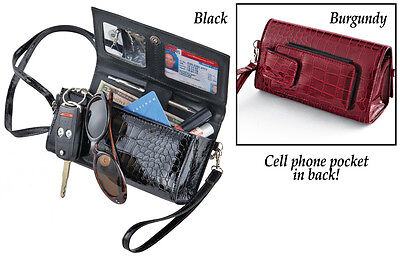EyePockit Organizer Carrying Purse with RFID Liner  -Black or Burgundy