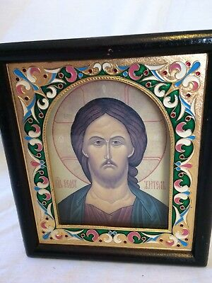 Vintage Religious Icon Enamel Gold Wood Frame Orthodox Russia Greek