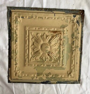 1890's 12 x 12 Antique Tin Ceiling Tile Tan Metal Reclaimed Anniversary 577-18