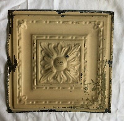 1890's 12 x 12 Antique Tin Ceiling Tile Tan Metal Reclaimed Anniversary 578-18