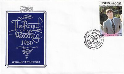 (21395) Union Island FDC Prince Andrew Fergie Royal Wedding 18 July 1986