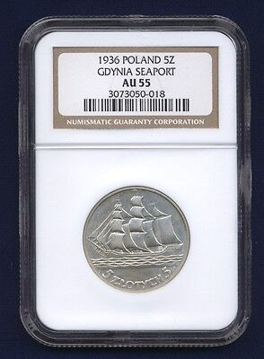 Poland  1936  5 Zlotych  Silver Coin,  Almost Uncirculated, Ngc Certified Au-55