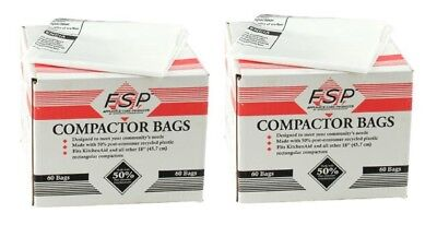 Whirlpool W10165296BU 18-Inch Plastic Compactor Bags with Odor Remover 120-Pack