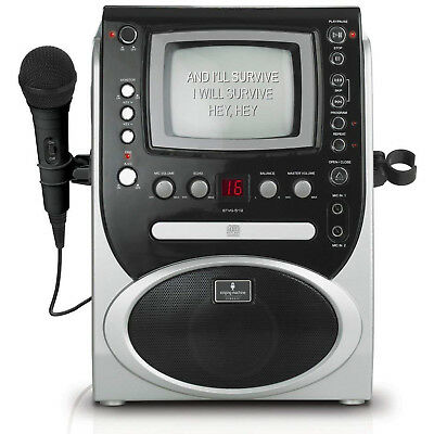 "Singing Machine CD+G Karaoke System with 5.5"" B&W Monitor & Microphone, Black"