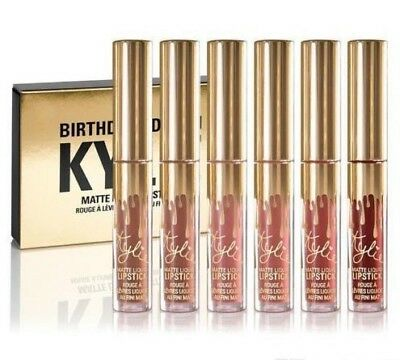Kylie Jenner Matte Mini Lip Gloss Kit / Gold Birthday Edition