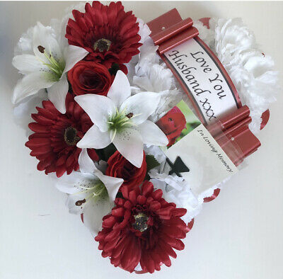 Silk Artificial Funeral Flowers Wreath Memorial Grave Tribute Red Wreath Dad