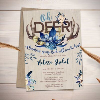 DEER THEME BABY Shower Invitations - BOY / Oh Deer / Antlers Baby Shower  Invite