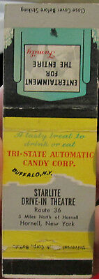 c1940s Starlite Drive-In Theatre on Rte 36 north of Hornell NY Matchbook Cover
