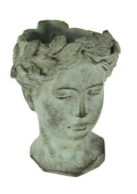 Distressed Cement Classic Greek Lady Head Indoor/Outdoor Planter