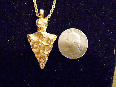 gold plated MYTH TRIBAL INDIAN arrowhead pendant charm hip hop necklace JEWELRY