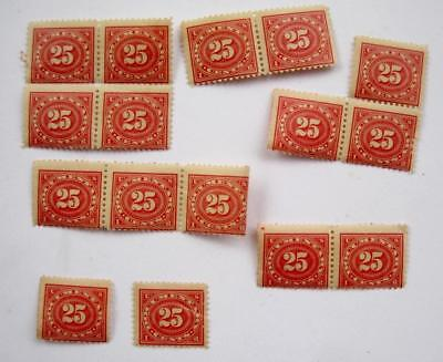Documentary US Internal Revenue Stamps Red 25 cents Gummed Unused Lot 16 Fragile
