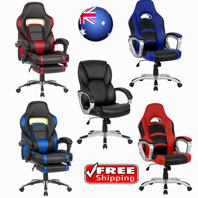 Ergonomic Leather Racing Style Reclining Computer Gaming Executive Office Chairs