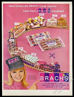 1966 Brach's candy train smiling conductor Laurel Goodwin photo vintage print ad