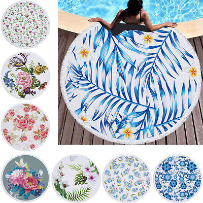 Round Beach Towel With Tassels Wall Tapestry Picnic Blanket Swimming Towels