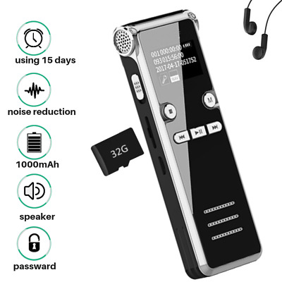 Spy Voice Activated Recorder Digital Rechargeable Mini Microphone Sound MP3 8GB