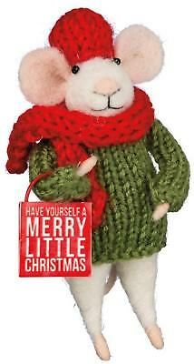 Primitive Country Folk-Art Merry Little Christmas Felted Wool Mouse