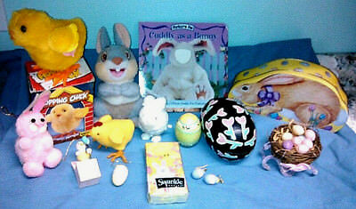 Vtg 14 pc EASTER Lot~Chenille/Tin BUNNY~Wind Up/Felt CHICK~Wood EGG Candle~NEST