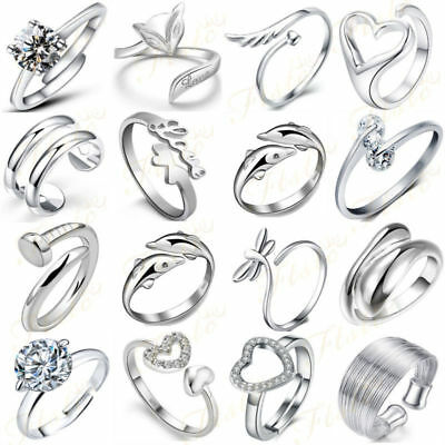 Solid Sterling Silver 925 Mixed Design Rings Ladies Gift Stacking Band UK Sell