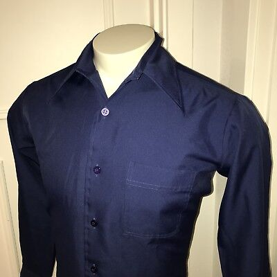 Vtg 60s 70s Solid Navy JOEL California Mens MEDIUM Polyester Disco Dress Shirt M