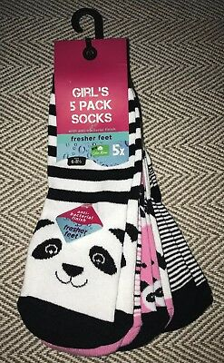 BNWT Girls 5 Pack Panda Patterned & Striped Girls Socks. Size 6-8 1/2 Shoe