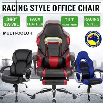 Racing Office Chair Executive Computer Gaming Leather Deluxe Swivel Task Seats