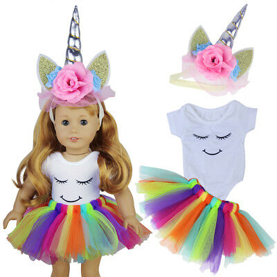 Doll Clothes Headband Unicorn Horn Dress Outfits for 18INCH Dolls Girl Kids Gift