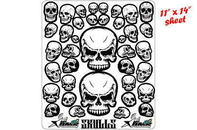RC Skull Stickers Decal Sheet For 1/8 1/10 Short Course Buggy Truggy Body 36Ct