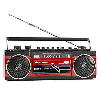 Radio Cassette Boombox Lecteur Bluetooth Design 80s SD K7 Tuner FM Batterie MP3