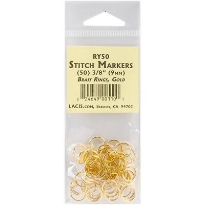 """Lacis Brass Ring Stitch Markers-3/8"""" 50/pkg"""