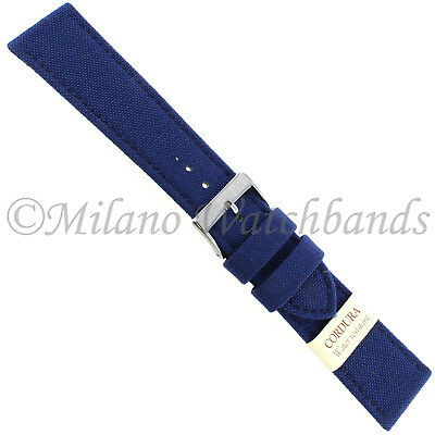 20mm Morellato Padded Stitched Genuine Cordura Canvas Navy Watch Band Strap
