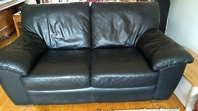 Ikea Black Leather Two Seater Sofa 14 90 Picclick Uk