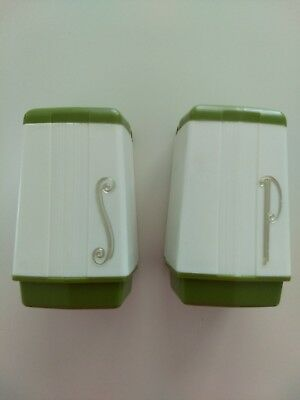 Vintage Mid Century salt and pepper Shakers Max Klein green white Square 1960