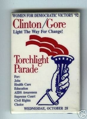 WOMEN for Clinton Gore TORCHLIGHT PARADE 1992 pin AIDS Awaremness GAY Interest