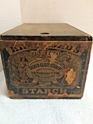 VINTAGE CRATE Kingsford's Silver Gloss Starch Oswego, NY
