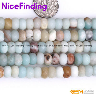 Natural Mixed Color Faceted Amazonite Rondelle Stone Spacer Beads Jewelry Making