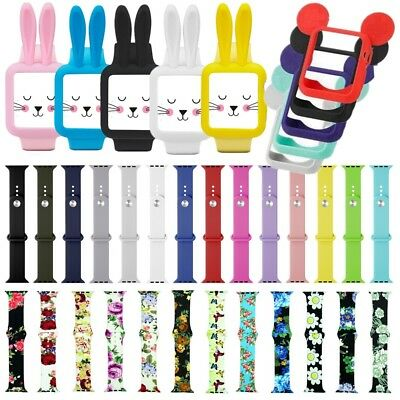 For Apple Watch Silicone Sport Band Strap Mickey Rabbit Case Cover Series 4 3 21