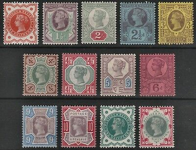 1887/1900 Jubilee Sg197/214 Fine Mint Hinged Set Of 13 Values (No 1/- Green)