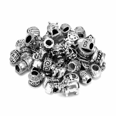 50Pcs Tibetan Silver Charms Spacer Beads For Bracelets Neckalce Jewelry Making