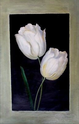 Still Life with Tulips, Quality Hand Painted Oil  Painting, 24x36in