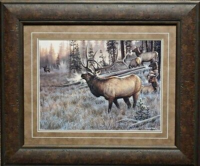 Cynthie Fisher A Worthy Opponent Elk Print 25.5 x  21.5-Framed