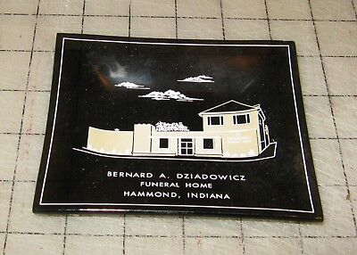"Vtg BERNARD A. DZIADOWICZ Funeral Home - Hammond, IN 4 & 3/4"" Glass Trinket Dish"