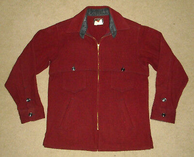 Vtg JOHNSON Woolen Mills MACKINAW Cape Jacket RED WOOL Herringbone Hunting USA S
