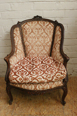 Single Antique French Louis XV Style Bergere Arm Chair