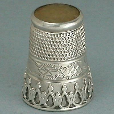 Antique English Stone Top Sterling Silver Thimble by Charles Horner* Circa 1900s