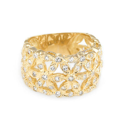 Diamond Flower Wide Band Cigar Ring Vintage 18k Yellow Gold Estate Jewelry 7.5