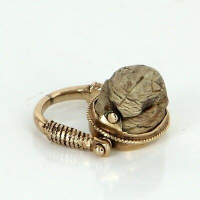 Egyptian Scarab Beetle Flip Ring Vintage 14k Yellow Gold Estate Fine Jewelry 5.5