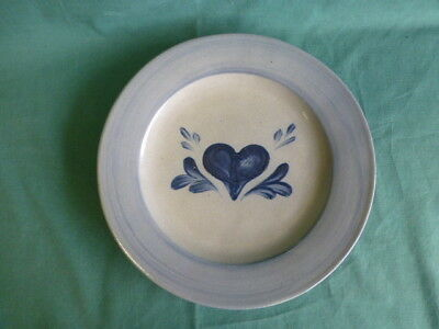 Rowe Pottery Works Cambridge Wisconsin Stoneware Hearts Pattern Plate