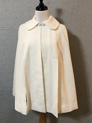 Vintage 60's Cape Swing White Polyester Lined Collar Arm Slits Womans