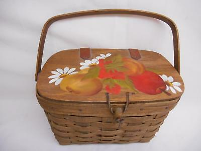 Old Vtg 1982 WOOD WEAVED PICNIC BASKET PURSE Women's Handbag Hand-Painted Signed